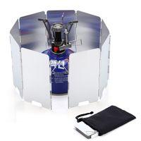 9 Placas Estufa de gas plegable Parabrisas Camping Cocina Cocina Quemador Pantalla a prueba de viento Aleación de aluminio Estufas al aire libre Escudo de viento