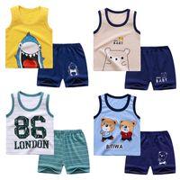 Chicos y niñas ropa chaleco conjuntos de verano sin mangas de algodón pantalones cortos de bebé linda camiseta de manga corta