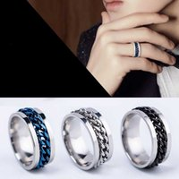 Kimter Titanium steel Rings Personalized Couple finger Band Hip Hop Bottle Opener Ring for Men Rotating Chain Jewelry Free DHL K134FA