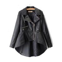 Super Chic Women Loose Oversized PU Leather Jacket Dove Tail Fashion Ladies Coat Women's Jackets