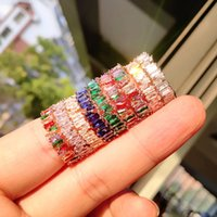 Luxury Colorful Cubic Zirconia Ring For Women Shiny Rectangle Rainbow Stone Wedding Finger Rings Gold Color Boho Fashion Jewelry