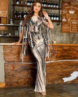 Sexy Tassel Glitter Sequins Maxi Long Mermaid Women Winter Dress 2021 Designer Elegant Evening Party Club Vestido Casual Dresses