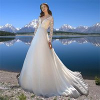 Long Applique Lace Sleeve Wedding Dress White Beach A Line 2021 Simple V Neck Court Train Summer Beads Bridal Gowns