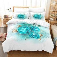 Bedding Sets Blue Flower Set Duvet Cover 3d Digital Printing Bed Linen Queen Size Fashion Design