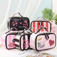 Fudam couro amor coração portátil mulheres cosmético saco multifuncional armazenamento de viagens organizar bolsa zipper maquiagem case1