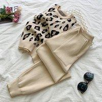 SMTHMA Bayan Uzun Kollu Örgü Leopar Kazak Kazakları + Elastik Bel Pantolon Setleri Moda Pantolon İki Adet Kostümleri Kıyafet