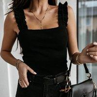 Tanks der Frauen Camis Shimai Tank Tops Frauen Square Kragen Solid Strick Casual Basic Sommer Ripped Slim Rüschen