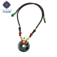 Handmade Ethnic Green Semi-precious Chokers Necklace Shell Flower Long Rope Chain With Agat E Women DL-18082
