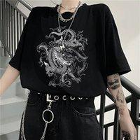 재미 Ulzzang 귀여운 드래곤 펑크 고딕 여성 T 셔츠 옷의 한국어 버전 짧은 소매 힙합 레트로 프린트 바 하라주쿠 티