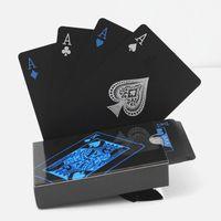 ماء البلاستيك البلاستيك لعب لعبة بطاقات مجموعة الاتجاه 54 قطع سطح السفينة لعبة البوكر الكلاسيكية السحرية الخدع أداة نقية اللون الأسود مربع معبأة دي إتش إل