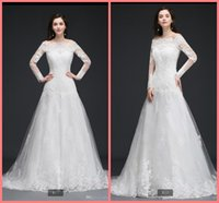 2021 New Arrival Sheer Long Sleeve Lace Wedding Dress Elegant Off the Shoulders muslim women fashion Bridal gowns appliques bride dresses Robe de Mariee