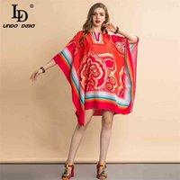Модный дизайнер Летние Ретро Платье Женщины Batwing Рукав Флористическая Полочная точка Напечатанные оборки Винтаж Свободные 210522