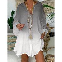 Camisas de gradiente casual de las mujeres Moda Ong Sleevelong camisa irregular Tops para mujer Ropa Mujer Mujer Primavera / de verano / Otoño Blusas de las mujeres