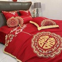 Bettwäsche-Sets Moderne chinesische Hochzeit Vier stück Set rote Baumwolle Seide Stickerei Steppdecke Bettblatt Kissenbezüge