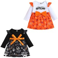 kids clothes girls Halloween Bow Flying sleeve dress infant Pumpkin spider print Princess Dresses Spring Autumn Boutique fashion baby Clothing Z3847
