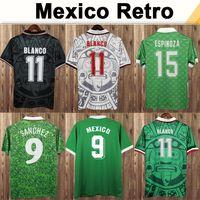 1994 México # 9 H. Sanchez Mens Futebol Jerseys 1999 National Team Retro # 11 Blanco # 15 Hernandez Home Away Futebol Camisas 1986 Uniformes