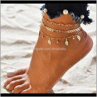 Consegna di goccia dei gioielli 2021 3 pz / set Anklets per le donne piede Aessies estate spiaggia sandali a piedi nudi Braccialetto Braccialetto alla gamba Female Ankle1 My