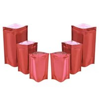 Storage Bags 100Pcs lot Glossy Red Aluminum Foil Stand Up Resealable Pouches Zipper Tear Notch Tea Coffee Beans Candy Packaging Bag