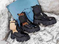 2021 Дизайнерские Обувь Мужчины Женщины Rois Boots Bootle Boot Neynon Военные Водоступен Бой Бюшина Прикрепленный Рыцарь С Сумкой