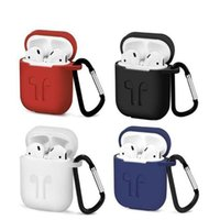 2 in 1 For Apple Airpods Cases Silicone Soft Ultra Thin Protector Airpod Cover Earpod Case Anti-drop With Hook Retail Box DHL Shipping