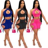 Sommer Womens Sexy Trainingsanzüge Nachtclub Strappy Halter Shorts Zweiteiler Sets Designer Feste Farbe Aushöhlen Ärmellose Weste Shorts Outfits D480
