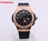 men's mechanical watch rose gold stainless steel case black dial side ring six needle calendar transparent back cover rubber strap