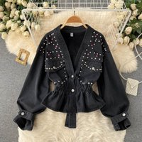 Women's Jackets Denim Jacket Women Black Beading V-neck Long Sleeve Single Breasted Elastic Waist Short Jeans Coat Fashion Spring Autumn Clo