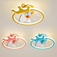 Ultra-thin children's bedroom led ceiling fan light fashion invisible cartoon lights with remote control