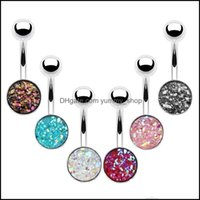 & Bell Jewelrysexy Body Jewelry Surgical Steel Navel Rings Piercing Color Druzy Crystal Belly Button Ring Drop Delivery 2021 Ab5Zp