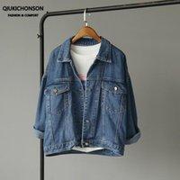Kadın Ceketler Qiukichonson Bayan Denim ve Mont 2021 Bahar Kore Moda Cep Mavi Jean Bayanlar Jasjes Dames
