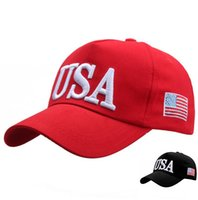 USA Flag Ball Caps Red Black Unisex Adjustable Adult Fitted Baseball Embroidery Summer Sun Visor Cap Sports Hats For Men And Women 30pcs