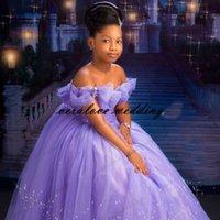 Prinzessin Cinderella Blumenmädchen Kleid aus der Schulter Lavendel Formale Parteikleider Kinder Eine Linie Geburtstag Abendkleidung