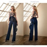 Jumpsuits 2021 Mother of the Bride Dresses Jewel Neck Pant Suits Wedding Guest Gowns Long Sleeve Lace Appliqued Mothers Groom