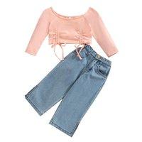 Damen Shorts stilvolle Mädchen T-Shirt und Jeans Set Mode Massive Farbe Kordelzug Langarm Cropped Tops Lose Split Denim Hosen 1-5YEARS