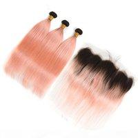 الشعر البشري الماليزي أومبير روز الوردي الذهب 3 حزم مع إغلاق أمامي 4 قطع الكثير مستقيم # 1b الوردي أومبير نسج لحمة الدانتيل أمامي 13x4