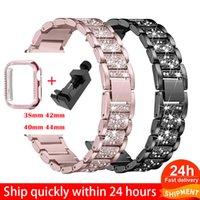 Bande de montre Bande + Boîtier Sangle de métal pour Apple Watch Série 6 Strap 40mm 44mm Gandes de montre Bague de diamant 38mm 42mm Bracelet en acier inoxydable IWatch SE 4 3 1 bandes