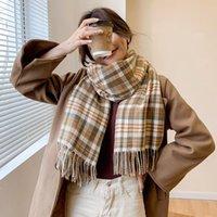 Scarves 2021 Luxury Cashmere Scarf Winter Women Pashmina Shawls Warm Blanket Wraps Female Foulard Ladies Hijabs Tassel Echarpe