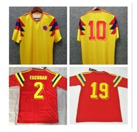 # 10 valderrama جيريرو كولومبيا 1990 الرجعية لكرة القدم جيرسي بعيدا الأحمر الكلاسيكية ذكرى العتيقة مجموعة خمر المنزل أصفر قميص