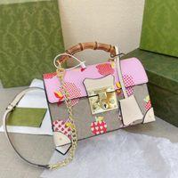 Лучшие цветы бамбуковые багажники моды дизайнеры женские сумки сумки сумки высокого качества косые ручка квадратное оборудование