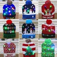 11 style Led Christmas Knitted Hats 24*21cm Kids Mom Winter Warm Beanies Snowmen Deer Santa Claus Caps OWB9159