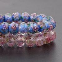 12mm de grandes perles de lampe de verre transparent de Murano pour bijoux Femme bricolage Bracelet Fleur Rougeelle Perles à facettes L002 1755 Q2