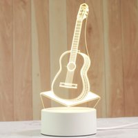Creative 3D Night Lights Acrylic Desktop Nightlight Boys and Girls Holiday Gift Decorative Lamps Bedroom Bedside Table Lamp guitar