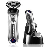 Raseur électrique rotatif professionnel Rasard sec à sec humide Razor électrique pour hommes Machine de rasage facial rechargeable avec nettoyant intelligent