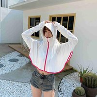Viscose Fiber Sun-Proof Clothing Electric Car Cycling Hooded Sunscreen Jacket Short Summer UV Protection Sun-Protective Women's Hoodies & Sw