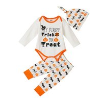 Infant Clothing Sets Girls Outfits Baby Boys Clothes Kids Suits Spring Autumn Long-Sleeved Letter Jumpsuit Rompers Pumpkin PP pants Hats 3Pcs Halloween Wear B7483