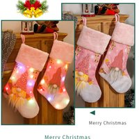 Christmas Stocking With LED Light Christmas Tree Pendant Hanging For xmas Decorations Candy Gift Bag HH21-471