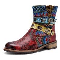 Stivali per la caviglia da donna etnico martinbooots inverno casual fibbia cinturino scarpe a tacco basso moda moda pelle antiscivolo stampa # 1110