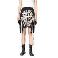 Twotwinstyle calças para mulheres cintura alta hem irregular cruz bandagem casual lace up moda