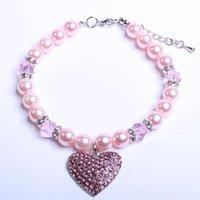 Cão gato pérolas colar colar de cristal coração charme pingente pet filhote de cachorro jóias colares trefícios