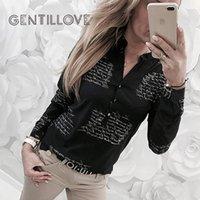 Gentillove Kadınlar Casual Mektup Baskı Ince Bluz Seksi Uzun Kollu V Boyun Gömlek İlkbahar Yaz Harajuku Tops Artı Boyutu 3XL Kadın Bluzlar